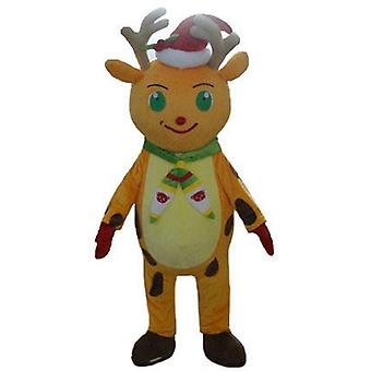 mascot SPOTSOUND reindeer Christmas orange and yellow, with a CAP