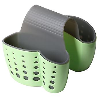 TRIXES Double Sink Saddle Caddy – Space Saving Kitchen Sponge Holder Organiser Drainer - Green