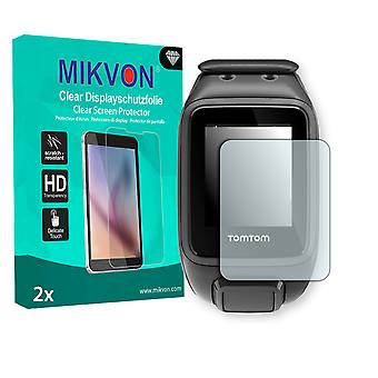 TomTom Runner 2 Cardio + Music Screen Protector - Mikvon Clear (Retail Package with accessories)