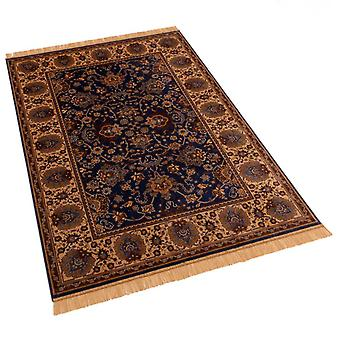 Blue Indian Agra Artificial Faux Silk Effect Antislip Rugs 4620/9 140 x 200cm