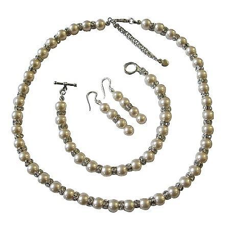 Ivory Pearls Bridal Jewelry Swarovski w/ Sparkles Silver Rondells