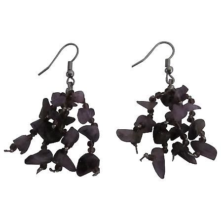 Lite & Dark Amethyst Stone Chip Beads Handcrafted Jewelry Earrings