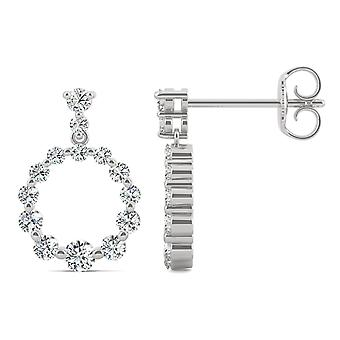 14K White Gold Moissanite by Charles & Colvard 2.5mm Round Drop Earrings, 0.67cttw DEW
