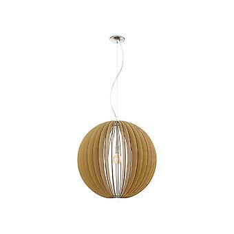 Eglo - Cossano Extra grande única luz teto pendente em cetim niquelar e o Maple EG94766 de acabamento em madeira