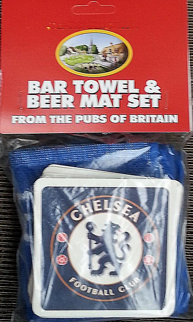 Chelsea FC Cotton Bar Towel and 10 Beermats (pp)