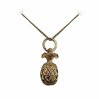 9ct Gold 13x8mm Pineapple Pendant with a curb Chain 16 inches Only Suitable for Children