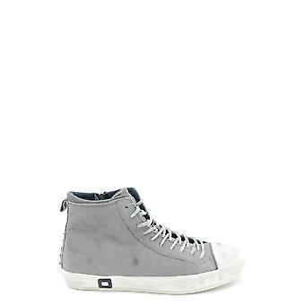 D.a.t.e. Grey Leather Hi Top Sneakers