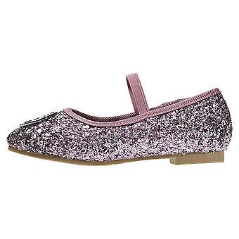 bebe Toddler Girls Ballet Flats Elastic Strap Chunky Glitter
