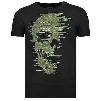 Skull Glitter-Carnival T Shirt men-6338Z-Black