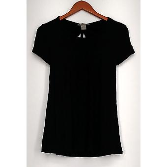Kate Mallory Top Short Sleeve Scoop Neck Cut Out Tie Back Hi Lo Black A432243 Kate Mallory Top Short Sleeve Scoop Neck Cut Out Tie Back Hi Lo Black A432243 Kate Mallory Top Short Sleeve Scoop Neck Cut Out Tie Back Hi Lo Black A432243 Kate Mall