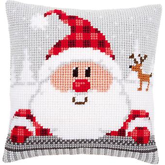 Santa In A Plaid Hat Cushion Cross Stitch Kit-16