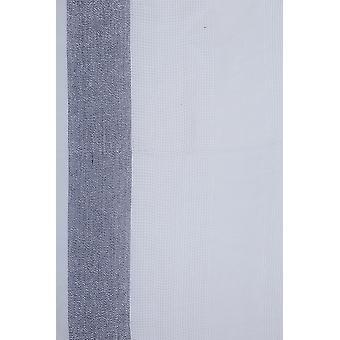Weiß & Navy breit Check Schal mit metallischen Gewinde