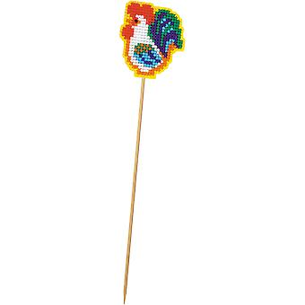 Rooster Planter Stick Plastic Canvas Kit-2.25