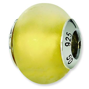Sterling Silver Reflections Yellow Matte Italian Murano Bead Charm