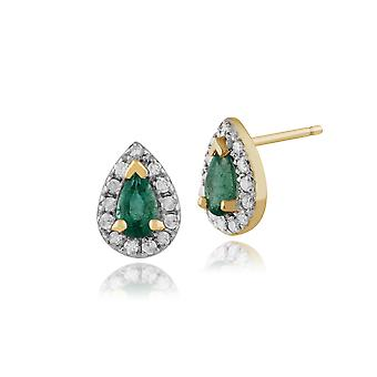 9ct Yellow Gold 0.39ct Emerald & Diamond Pear Cluster Stud Earrings