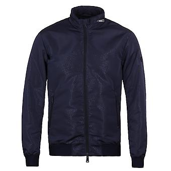 Armani Jeans Navy Perforated Harrington Water Repellent Jacket
