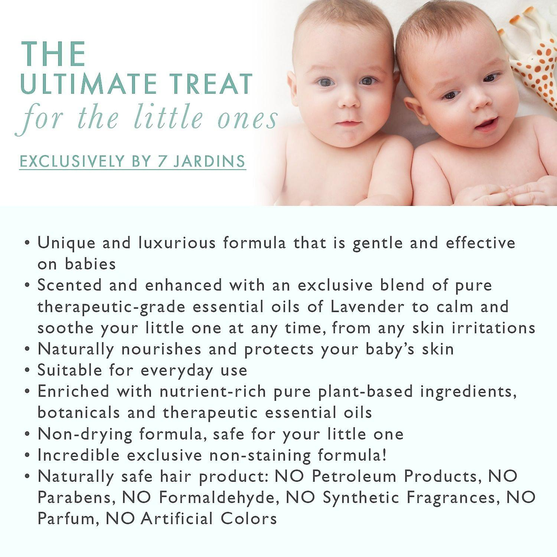 7 Jardins naturlige Baby ren olie - fugtende, blid & nærende for en sund hud, 4 ounce. Beriget med essentielle olier af lavendel og morgenfrue. 100% sikker og Sulfate gratis