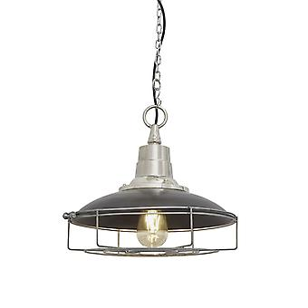 Retro Enamel Cage Pendant Light - Dark Pewter - 14
