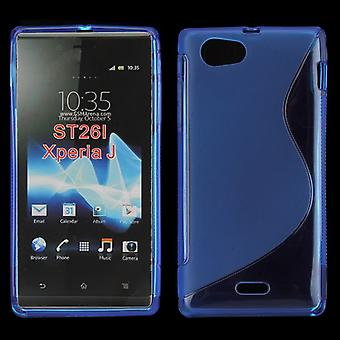 Cover with rubber TPU case for Sony Xperia J ST26i (blue)