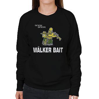 Walker agn Walking Dead Rick og Carl Grimes Homer og Bart Simpson kvinders Sweatshirt