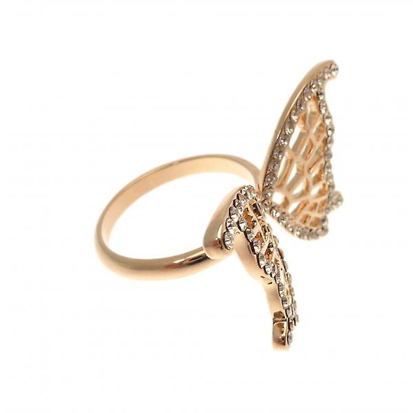 W.A.T Gold Style Dainty Open Butterfly Wing And CZ Crystal Ring
