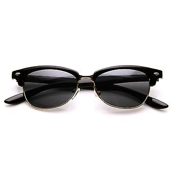 Classic Oval Shaped Semi-Rimless Half Frame Horn Rimmed Sunglasses