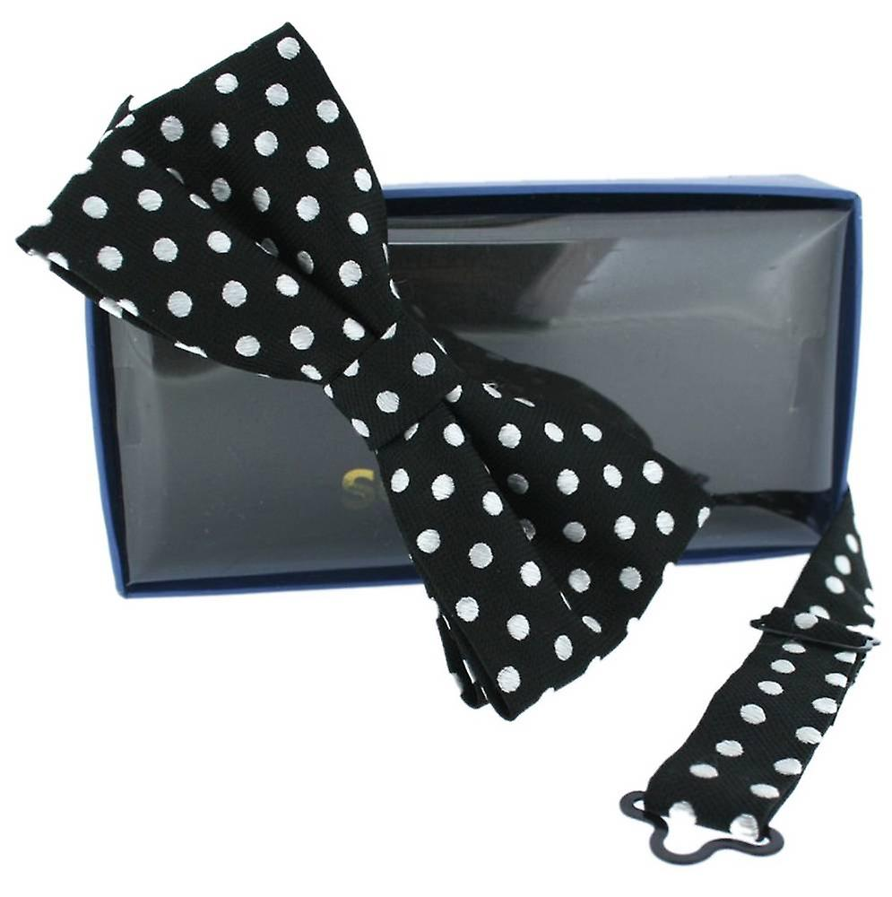 David Van Hagen Mini Polka Dot Silk Bow Tie - Black/White