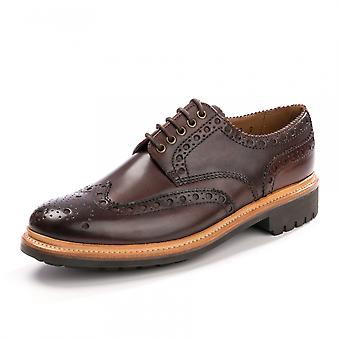 Grenson Grenson Archie Handpainted Dark Brown Mens Brogue