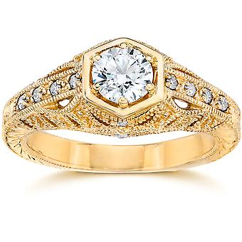Emery .70Ct Vintage Diamond Antique Engagement 14K Yellow Gold