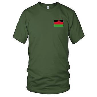 Malawi Land Nationalflagge - Stickerei Logo - 100 % Baumwolle T-Shirt Herren T Shirt