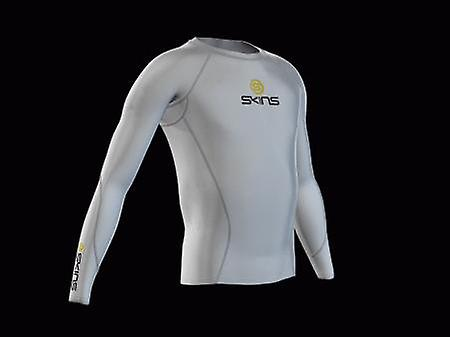SKINS Youth Unisex Bio Compression Long Sleeve Top white with gray stitching - B12005005