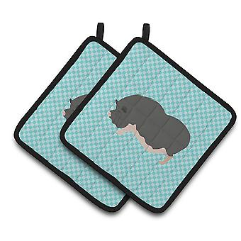 Vietnamese Pot-Bellied Pig Blue Check Pair of Pot Holders