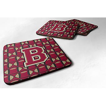 Set of 4 Letter B Football Garnet and Gold Foam Coasters Set of 4