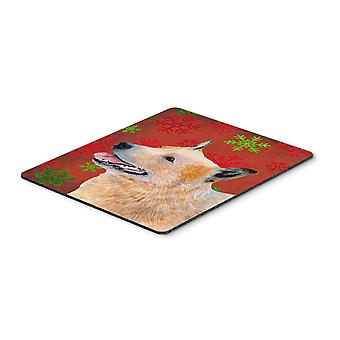 Australian Cattle Dog  Snowflakes Christmas Mouse Pad, Hot Pad or Trivet