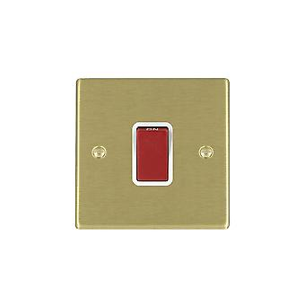 Hamilton Litestat Hartland Satin Brass 1g 45A Double Pole Red Rocker/WH