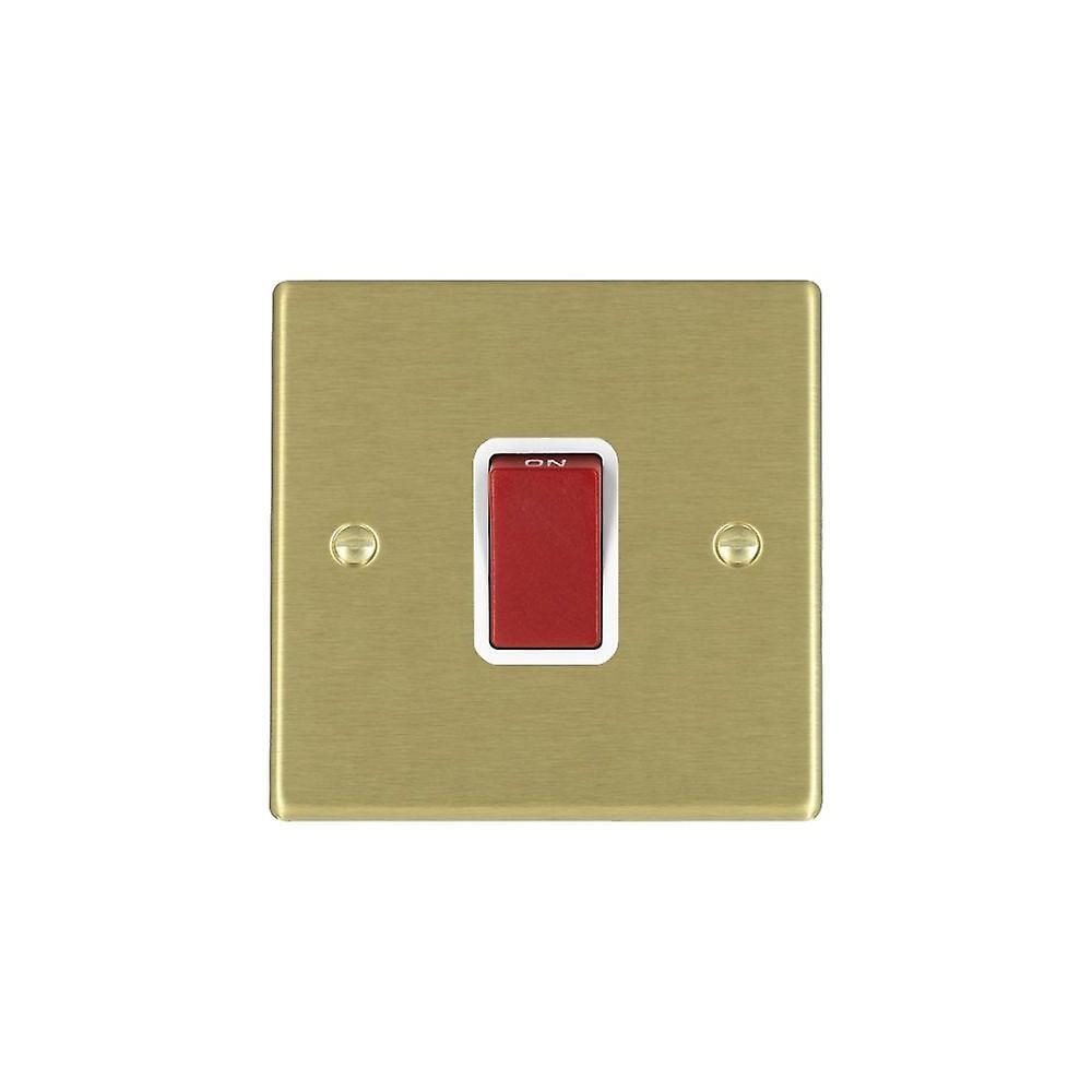 Hamilton Litestat Hartland Satin Brass 1g 45A Double Pole rouge Rocker WH