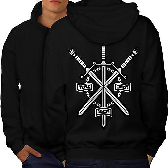 Triple Sword Geek Men BlackHoodie Back | Wellcoda