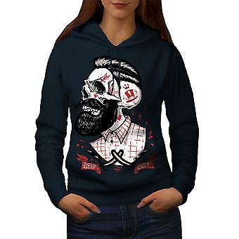 Skull Hippie Beard Women NavyHoodie | Wellcoda