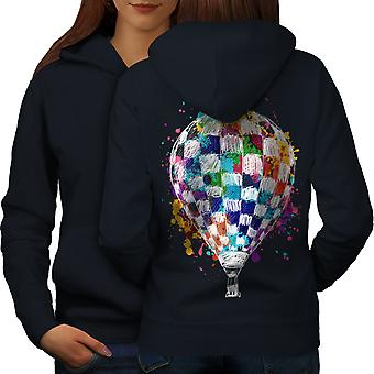 Air Balloon viaggio donne NavyHoodie Back | Wellcoda