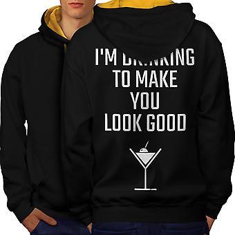 Drinking Look Good Funny Men Black (Gold Hood)Contrast Hoodie Back | Wellcoda