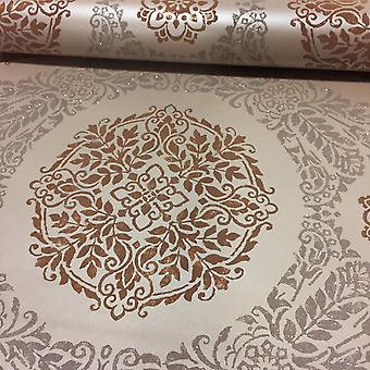 Damask Wallpaper Medallion Feature Luxury Weight Glitter Timour Copper Arthouse
