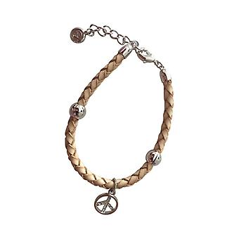 Braided Leather Bracelet With Silver Pendant As0087