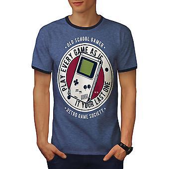 Società del giocatore uomo Heather Blue / NavyRinger t-shirt | Wellcoda