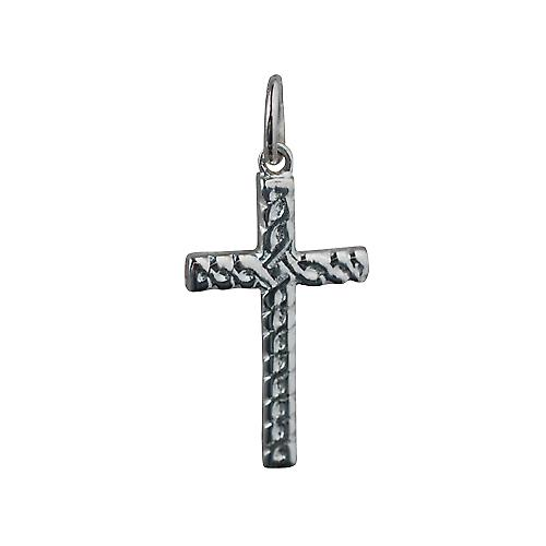 Silver 20x12mm Celtic knot embossed Cross