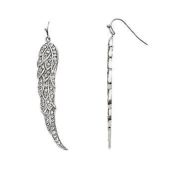 No Metal Stamp Stainless Steel White Synthetic Cubic Zirconia Fancy Wing Dangle Earrings