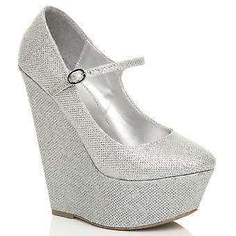 a3cf4f6724d Ajvani womens high wedge heel mary jane strap platform court shoes pumps