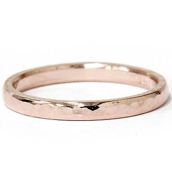 2mm 14K Rose Gold Hammered Stackable Wedding Band