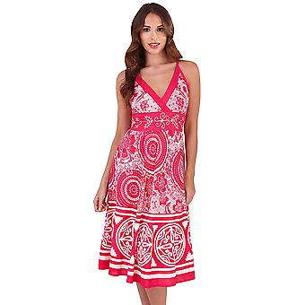 Martildo, Womens Crossover Band Summer Holiday Short Dress with Straps, Congo Pink