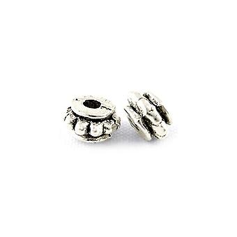 Packet 50+ Antique Silver Tibetan 4 x 6mm Rondelle Spacer Beads HA15655