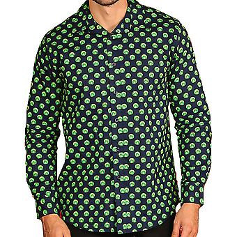 Christmas Mens Sprout Print Long Sleeve Button Down Formal Shirt